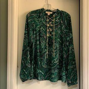 MK green paisley print blouse